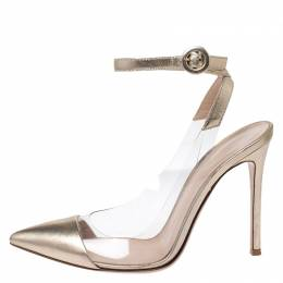 Gianvito Rossi Gold Foil Leather and PVC Plexi Pointed Toe Ankle Strap Sandals Size 38 252904
