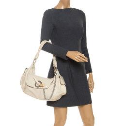 Gianfranco Ferre Cream Leather Side Pocket Shoulder Bag 252609