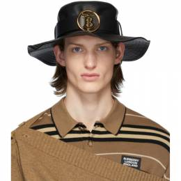 Burberry Black Lambskin Monogram Desert Hat 8025193