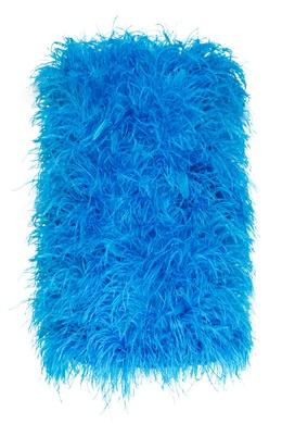 Бирюзовое платье мини с перьями страуса Attico 1869173870