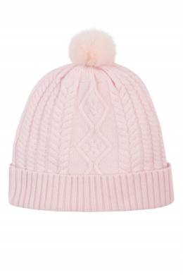 Вязаная розовая шапка с меховым помпоном Max & Moi 2919174605