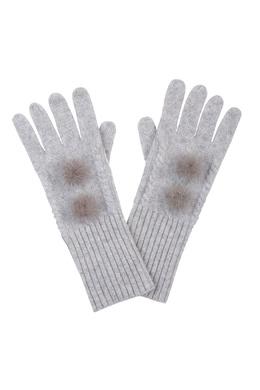 Серые перчатки, украшенные мехом Max & Moi 2919174613
