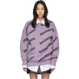 Balenciaga Purple All Over Logo Sweater 581027-T1473