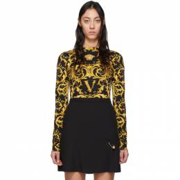 Versace Black and Yellow Wester Barocco Bodysuit A85614 A233231