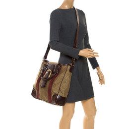 Escada Metallic Gold Nylon and Leather Buckle Flap Shoulder Bag 252945