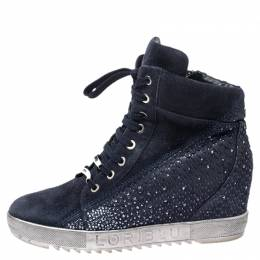 Loriblu Blue Crystal Embellished Suede and Python Embossed Leather High Top Sneakers Size 38.5