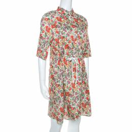 Sonia Rykiel Multicolor Floral Printed Cotton Waist Tie Detail Shirt Dress S 254023