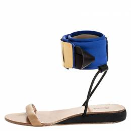 Chloe Blue/Beige Leather And Nylon Ankle Cuff Flat Sandals Size 38 253759