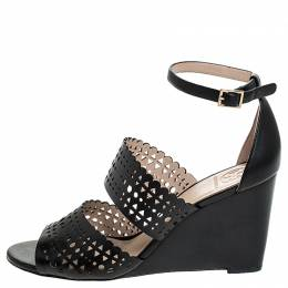 Tory Burch Black Cutout Leather Perf Gladiator Wedge Ankle Strap Sandals Size 39 254234