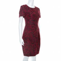 Ch Carolina Herrera Red Wool Blend Jacquard Pleat Detail Dress M 253940