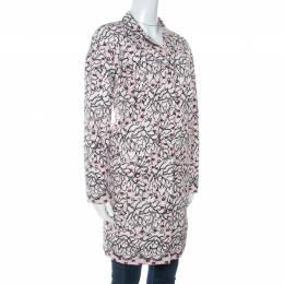 Paule Ka Blush Pink Floral Printed Cotton Silk Long Coat M 254683