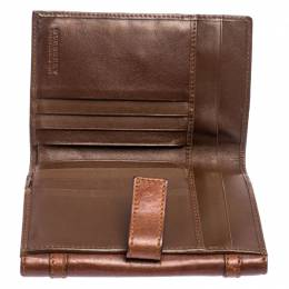 Burberry Brown/Beige House Check Canvas and Leather Buckle Flap Wallet 253247