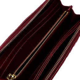 Miu Miu Dark Red Matelasse Leather Continental Zip Wallet 253469