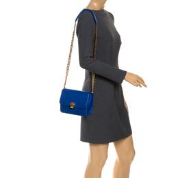 Roberto Cavalli Blue Leather Milano Flap Shoulder Bag 253237