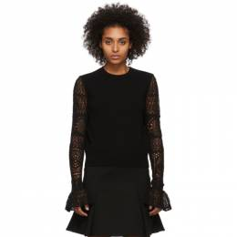 Alexander McQueen Black Wool Lace Crewneck Sweater 610736Q1AMK