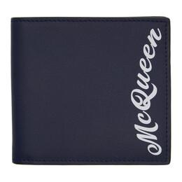 Alexander McQueen Navy Logo Wallet 6021371SA0B