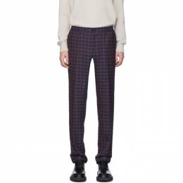 Etro Blue Check Wool Trousers 1w647 1228