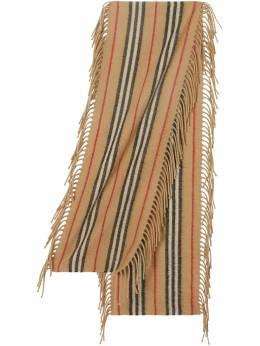Burberry Kids шарф в полоску Icon Stripe с бахромой 8022776