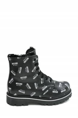 Утепленные ботинки из принтованной кожи Moschino Kids 3128173560