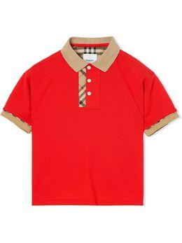 Burberry Kids рубашка-поло с отделкой Vintage Check 8022619