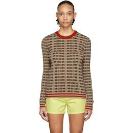 MSGM Beige All Over Logo Sweater 2841MDM112 207292