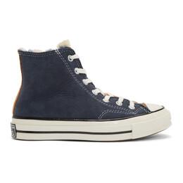 Converse Navy and Pink Shearling Chuck 70 Hi Sneakers 166319C