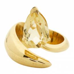 Alan Crocetti SSENSE Exclusive Gold and Yellow Citrine Alien Ring EXCLUSIVE 3