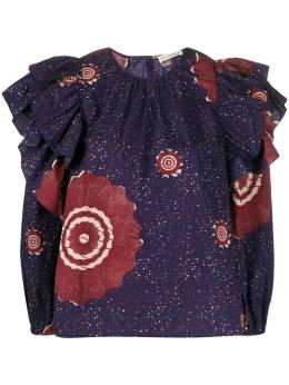 Ulla Johnson блузка оверсайз с длинными рукавами и оборками PS200215