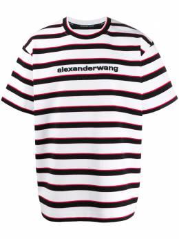 Alexander Wang полосатая футболка с логотипом 6CC1201064