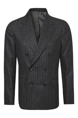 Черный шерстяной костюм в полоску Lardini 2453175086