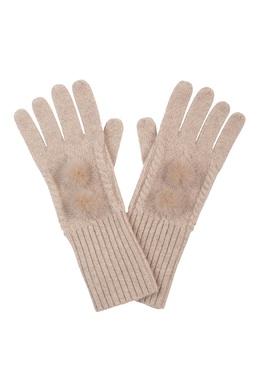 Светло-бежевые перчатки, украшенные мехом Max & Moi 2919174608