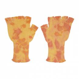 The Elder Statesman Yellow Heavy Tie-Dye Fingerless Gloves 18047
