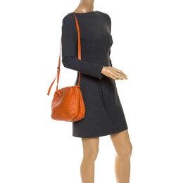Bottega Veneta Orange Intrecciato Nappa Leather Drawstring Bag 253423