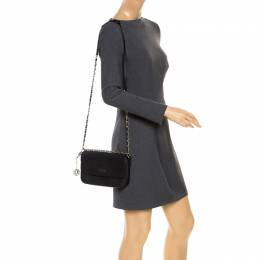 DKNY Black Leather Bryant Flap Crossbody Bag 253889