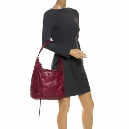 Balenciaga Pourpre Lambskin Leather Day Bag 253556