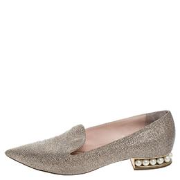 Nicholas Kirkwood Gold Glitter Fabric Casati Faux Pearl Heel Pointed Toe Loafers Size 41 255106