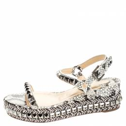 Christian Louboutin Black/White Studded Leather Cataclou Espadrille Wedge Sandals Size 37 255105