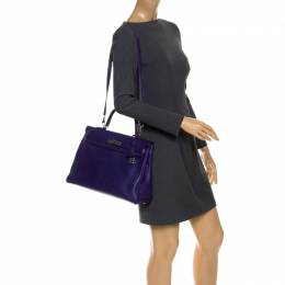 Hermes Ultraviolet Clemence Leather Palladium Hardware Kelly Retourne 35 Bag 253723