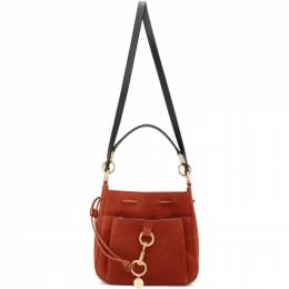 See By Chloe Red Large Suede Tony Bucket Bag CHS19USA06566