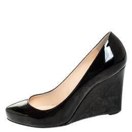Christian Louboutin Black Patent RonRon Zeppa Wedge Pumps Size 38.5 255710