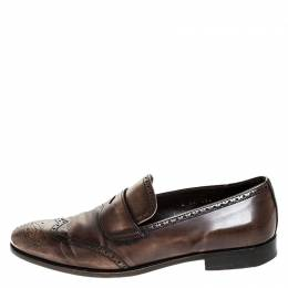 Prada Brown Brogue Leather Penny Slip On Loafers Size 41 254013