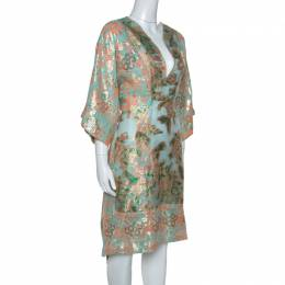 Tory Burch Metallic Fil Coupé Drawstring Waist McKenna Dress L 254728