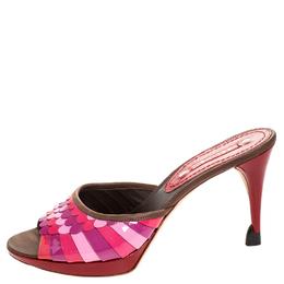 Celine Multicolor Patent and Leather Trim Scalloped Slide Sandals Size 39