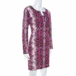 Diane Von Furstenberg Pink Snake Print Silk Jersey Reina Mini Dress XL 254732