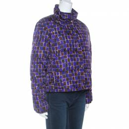 Prada Purple Printed Technical Fabric Puffer Jacket M 255356