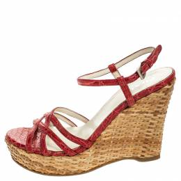 Prada Red Croc Embossed Leather and Rattan Basket Weave Wedge Sandals Size 37 255355