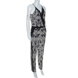 Diane Von Furstenberg Black Printed Silk Shany Jumpsuit M 255352