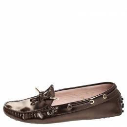 Tod's Metallic Leather Bow Slip On Loafers Size 38 254866