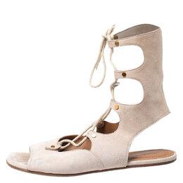 Chloe Beige Suede Gladiator Ankle Wrap Flap Sandals Size 38.5 253176