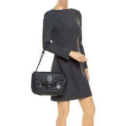Bottega Veneta Dark Grey Intrecciato Leather Flap Chain Bag 253822